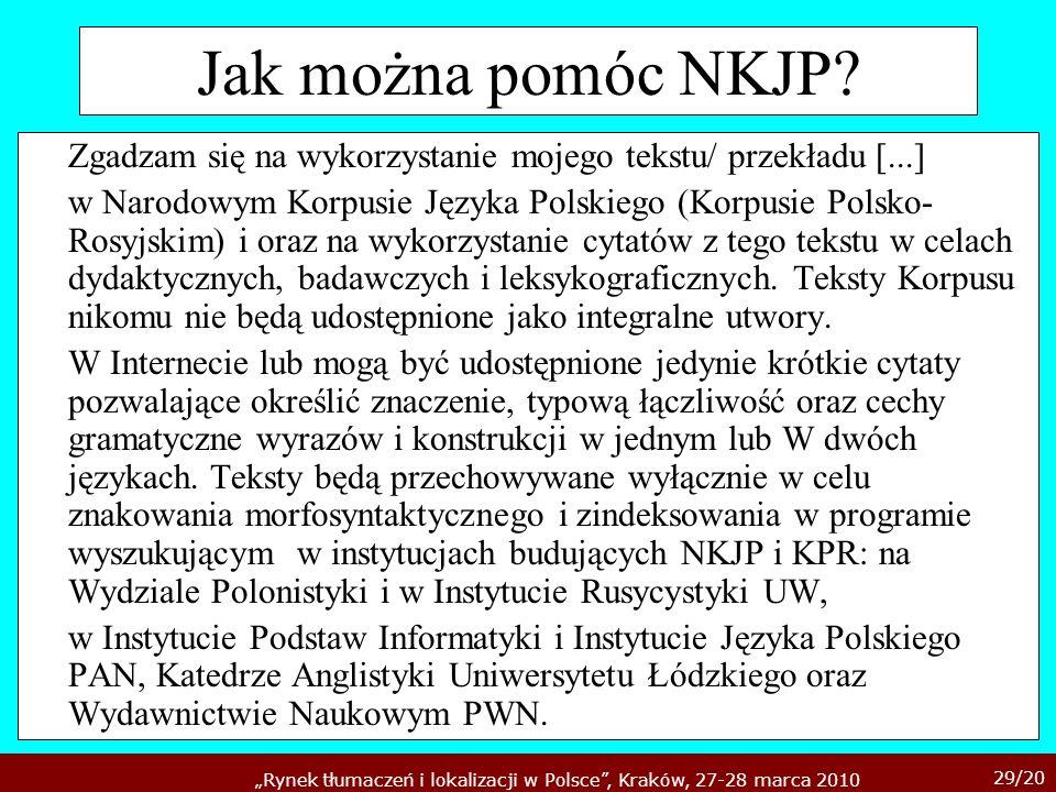 Jak można pomóc NKJP Zgadzam się na wykorzystanie mojego tekstu/ przekładu [...]